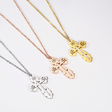 цены Fashion Necklace Women Accesories Christian Orthodox Church Stainless Steel Jewelry Rose Gold Chain Cross Pendant Necklace