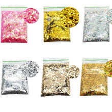 Mixed Size (1mm,2mm,3mm) Nail Art Glitter Chunky Sequin Holographic Flake 50g/bag Sequin Sparkly Makeup Spangle Holo Sequin Nail sequin embellished mixed media dress