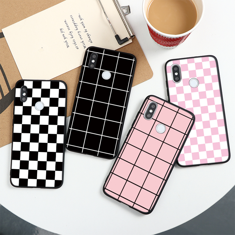 Plaid Checkerboard Case For Xiaomi Pocophone F2 F1 Mi Redmi Note 10 Lite 9 S 9A 9C 9S 8T 8 7 5 6 K20 K30 Pro Max TPU Cover Cases(China)