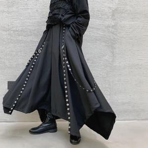 Мужские и женские широкие брюки с лентой, темно-черные готические шаровары в японском стиле, кимоно и юбка