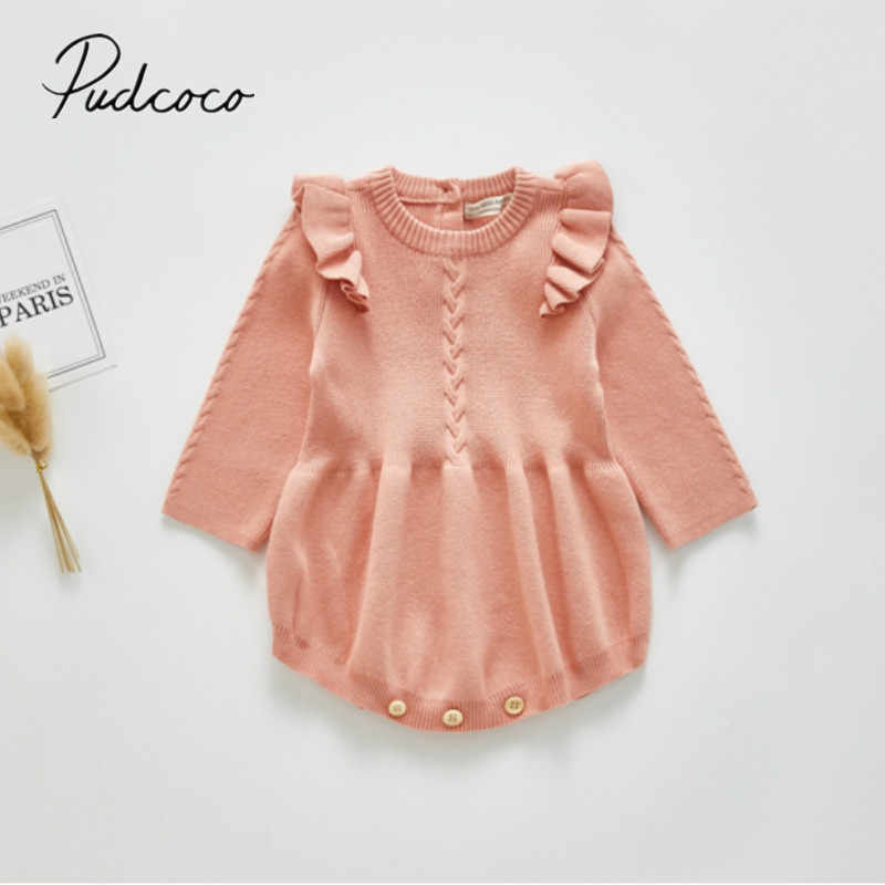 2020 Brand 0-3Y Baby Spring Autumn Clothing Infant Newborn Baby Girls Knitted Bodysuit Long Sleeve Solid Ruffled Jumpsuit Outfit