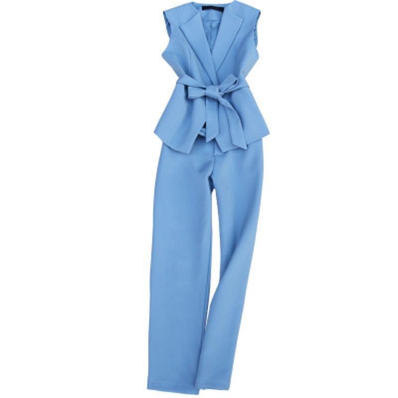Fashion Vest Suit Female Spring New High-quality Casual Commuter Suit Female Slim Lace Vest + High Waist 9 Points Pants Two Set
