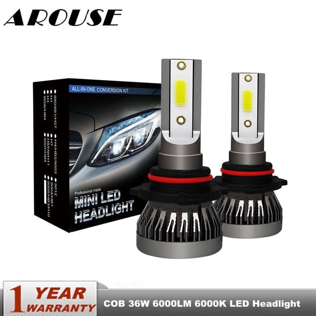 Ароуз H4 Hi короче спереди и длиннее сзади) автомобиль светодиодный лампы для передних фар H7 H11 9005 9006 36 Вт 6000LM 6000K COB светодиодный авто фары Светодиодный светильник освещение лампы 12v 24v