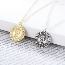 Silvology 925 Sterling Silver Maria Necklace Coin Round Texture Western Style Pendant for Women Birthday Jewelry Gift