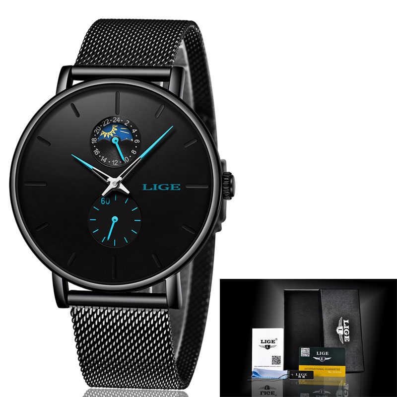 2019LIGE marque de luxe montre décontracté noir étanche montre en acier inoxydable Ultra mince mâle Quartz horloge Relogio Masculino