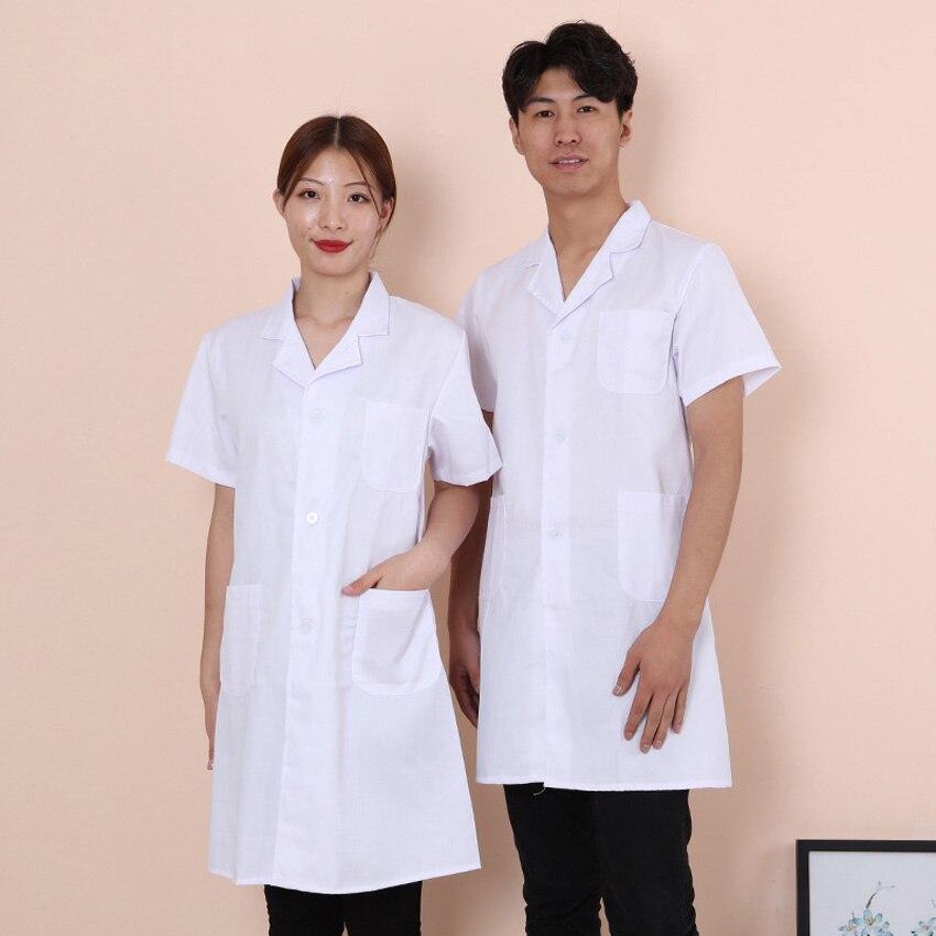 Women Men Doctor Coat White Long Gown Full Sleeve Hospital Lab Medical Uniform With Pocket Nurse Dress Suit Spa Wear