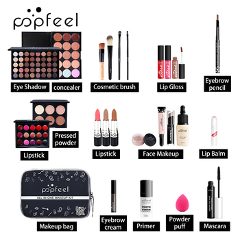 15 20 24PCS/Set Make Up Sets Cosmetics Kit Eyeshadow Lipstick Eyebrow Pencil Lip Gloss Makeup Brush Powder Puff with Makeup Bag 1