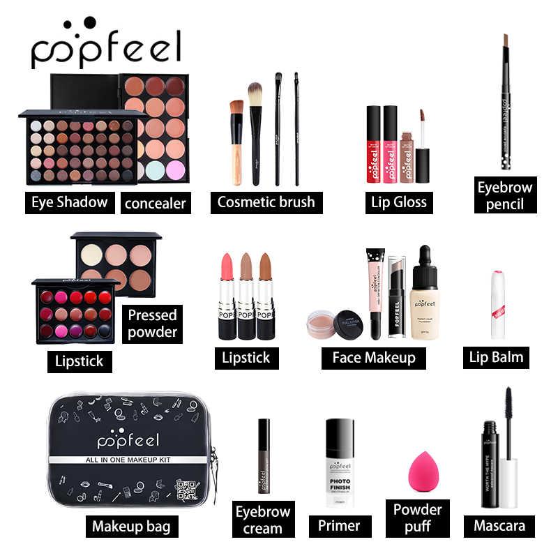 15 20 24 pçs/set maquiagem conjuntos kit cosméticos sombra batom sobrancelha lápis lábio gloss maquiagem escova pó sopro com saco de maquiagem