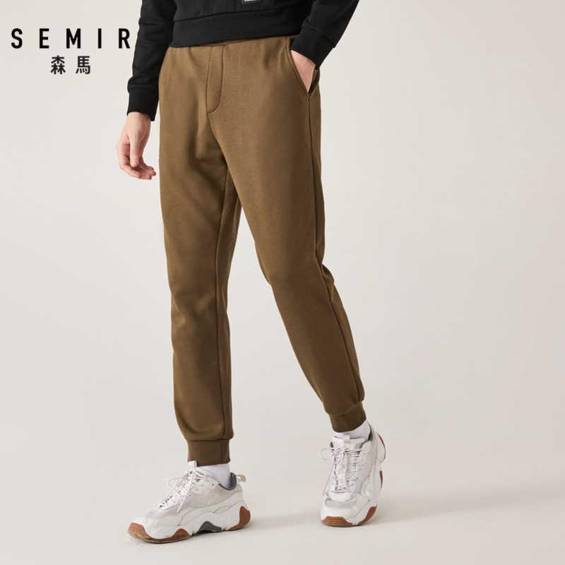 Semir повседневные брюки мужские молодежные зимние плюс бархатные теплые ноги брюки тренд контрастный цвет вышивка Луч рот пот брюки