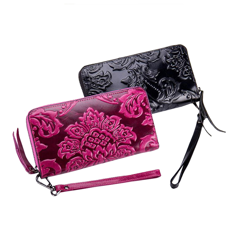 Western Cow Leather Carved Print Long Women Wallet Fashion Genuine Coins Purse