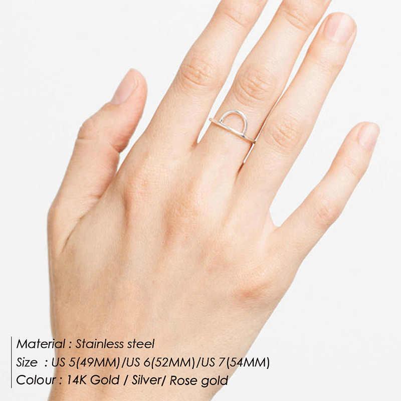 แฟชั่นสแตนเลสสตีลแหวนแหวนเลดี้ Retro เรขาคณิตสีชมพูแบนแหวนแหวนคอมโพสิตรอบ Midi แหวนเครื่องประดับ