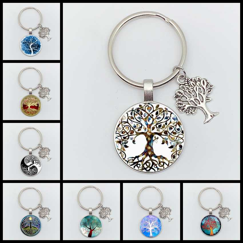 New Tree of Life Personality Declaration Keychain Art Photo Glass Pendant Keychain DIY Gift Jewelry Charm Bag Souvenir