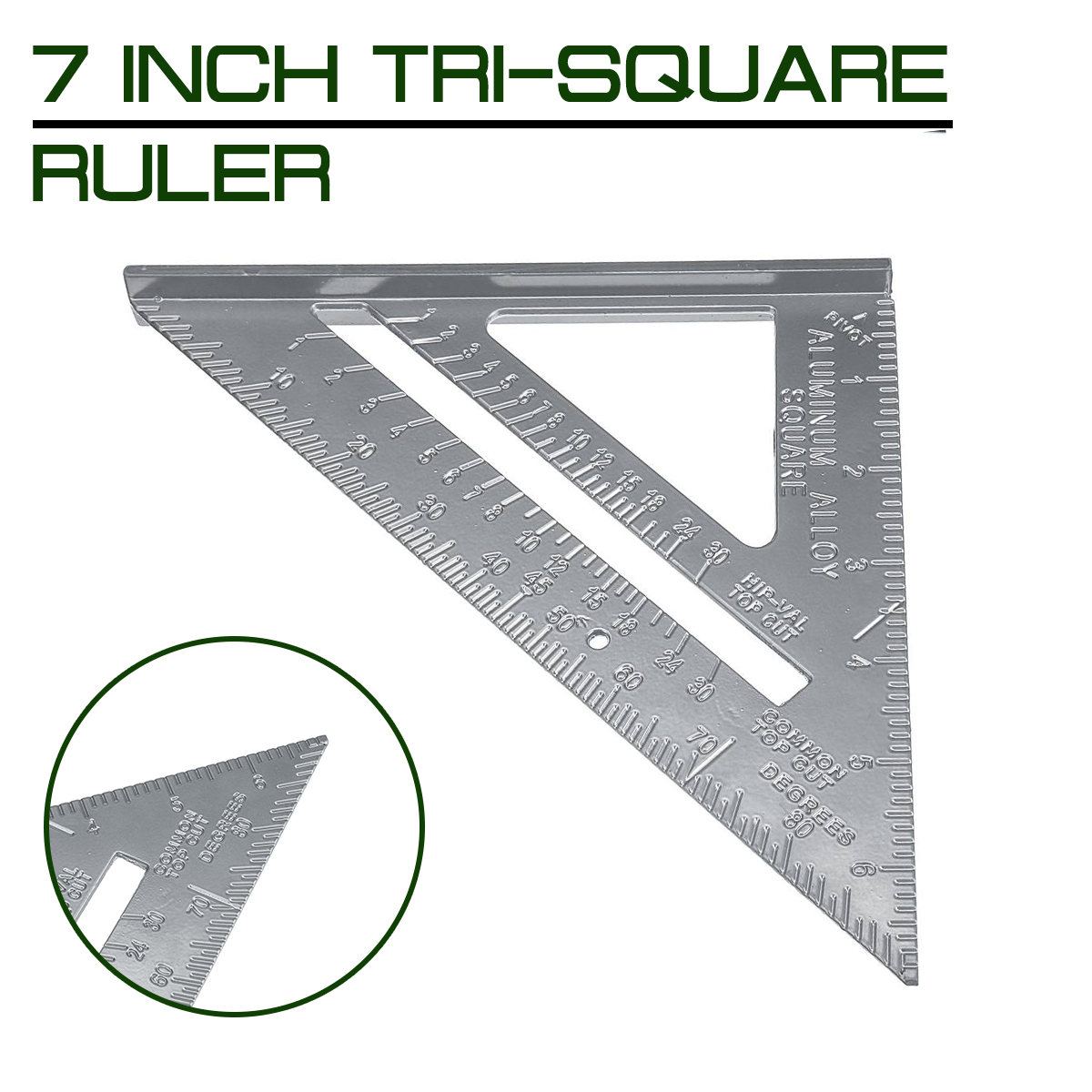 7 Inch Measuring Ruler Aluminum Alloy Speed Square Roofing Triangle Angle Protractor Trammel Measuring Tools Marking Tools