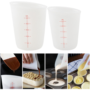 250/500ml Silicone Measuring Cup Precision Graduated Kitchen Measuring Tool Jug Pour Spout Baking Cooking Tool for Butter Water
