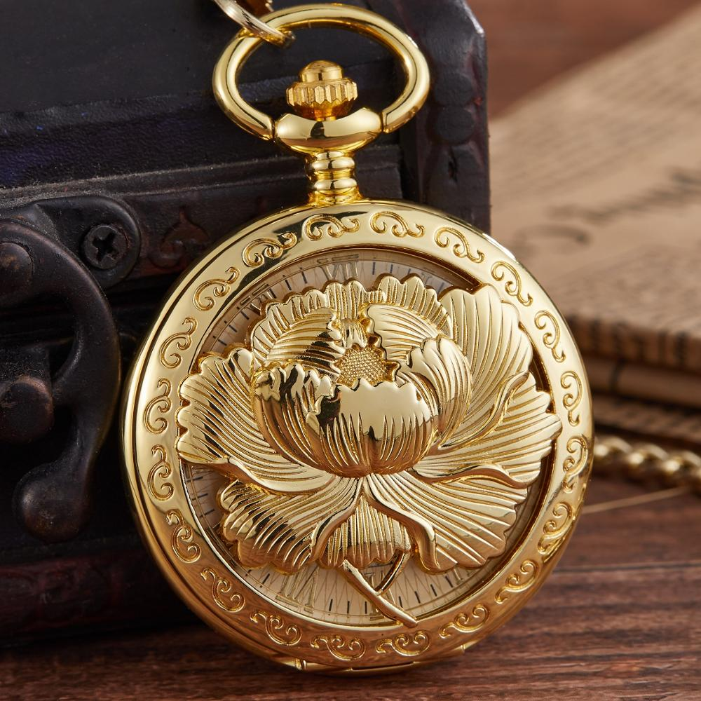Retro Gold Stainless Steel Skeleton Mechanical Pocket Watch For Men FOB Chain Top Brand Luxury Watches