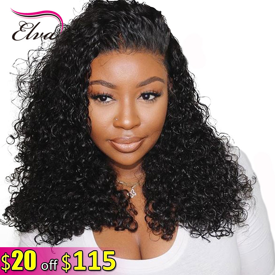 Elva Hair Fake Scalp Wigs Curly 13x6 Lace Front Human Hair Wigs Pre Plucked With Baby Hair  For Black Women Brazilian Remy Hair