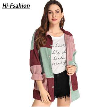 2020 New Spring and autumn Casual Cut and Sew Pocket Front Buttoned Coat Turn-down Collar Outerwear  Long Sleeves Women Coats cut and sew panel tee