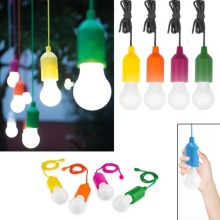 Portable LED Colorful Light Bulb Chandelier Pull Cord Light Bulb Outdoor Garden Party Wedding Hanging LED Light Lamp