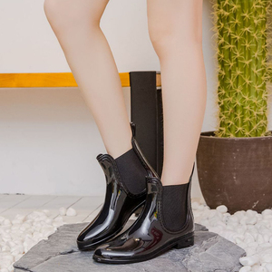Image 5 - Rubber Boots for Women PVC Ankle Rain Boots Waterproof Trendy Jelly Women Boot Elastic Band Rainy Shoes Woman botas mujer