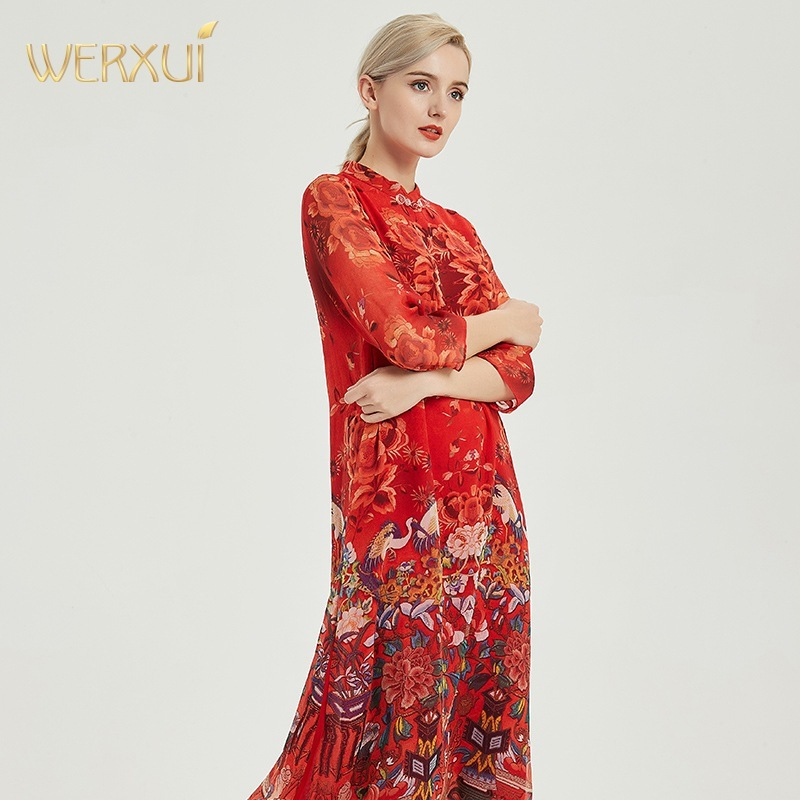 silk dresses women natural 2020 spring summer red chiffon qipao floral office casual sexy beach party dress plus size