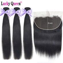 Extensiones de cabello lacio brasileño con mechones Frontal de encaje 13x6, mechones de 30 pulgadas con cierre Frontal, cabello no Remy Lucky Queen