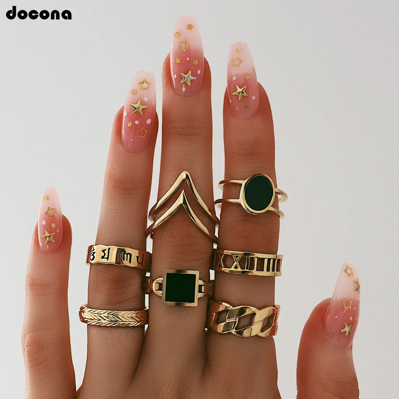 docona Vintage Gold Black Rhinestone Letter Ring Set for Women Ladies Wave Symbol Joint Midi Rings Anillos 7pcs/set 9808