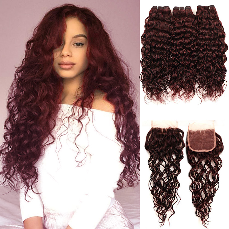 Pinshair Red Hair Malaysian Water Wave Burgundy 3 Bundles With Closure 99J Human Hair Bundles With Closure Non-Remy Hair Bundles