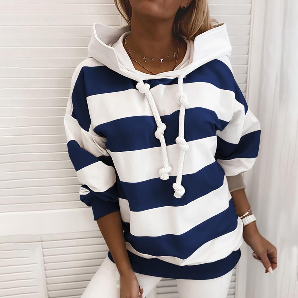 2020 NEW Casual Loose Striped Women Clothing Long Sleeve Hoodies Ladies Fashion Streetwear Korean Harajuku Hooded Sweatshirt