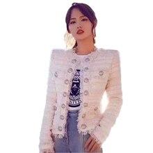 2019 High Quality Vintage Tweed Jacket Women Designer Short Coat Elegant Lady With Office Pink Top Pocket Fashion Runway