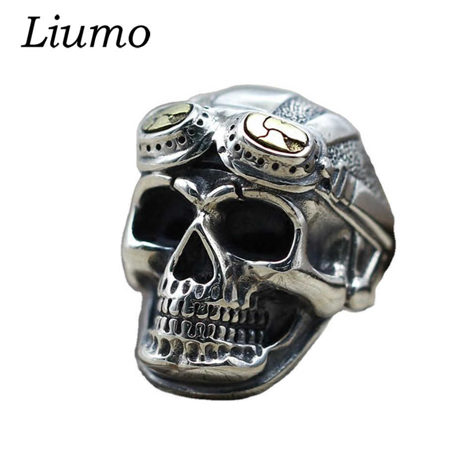 Pilot Skull Biker Rings Gold Vintage for Men Fashion Party Gift Punk Jewelry