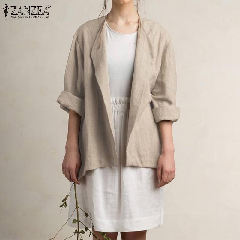ZANZEA Women Blazer Plus Size Ladies Casual Cotton Blazers 2019 Autumn Long Sleeve Coats Jackets Autumn Outwear Blazer Feminino