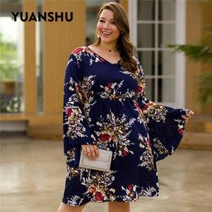Image 2 - YUANSHU moda çiçek baskı artı boyutu elbise kadın V boyun Flare kol yüksek bel elbise parti büyük boy kadın kıyafetleri XL 4XL