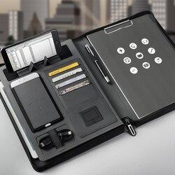 Tendencias tamaño A4 cuaderno de viaje de composición Libro de Negocios bolsa de gerente carpeta de archivos con cargador de energía inalámbrico soporte de bolsa móvil
