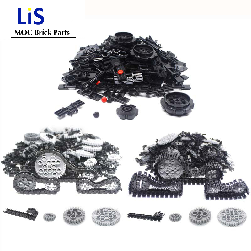 NEW 300-700Pcs/Lot Technic Link Chain with Beveled Reinforced EdgeTank <font><b>Track</b></font> Chain <font><b>Track</b></font> <font><b>Rubber</b></font> Stopper Parts MOC Brick Diy Toys image