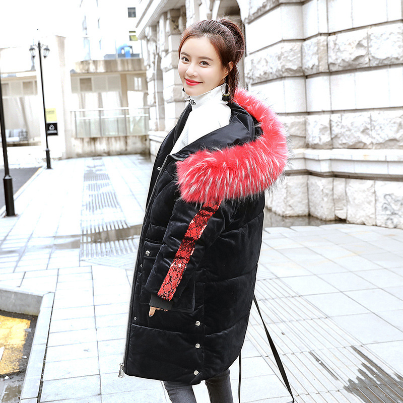 Offre spéciale vers le bas parka veste mi-longue style hiver genou-croisement 2019 décontracté perle pièce à manches longues épais grand coton 1813