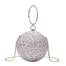 Glitter Round Ball Evening Bags Women Shinny Wedding Small Clutches With Chain Shoulder Bag Banquet Fashion Party Pouch
