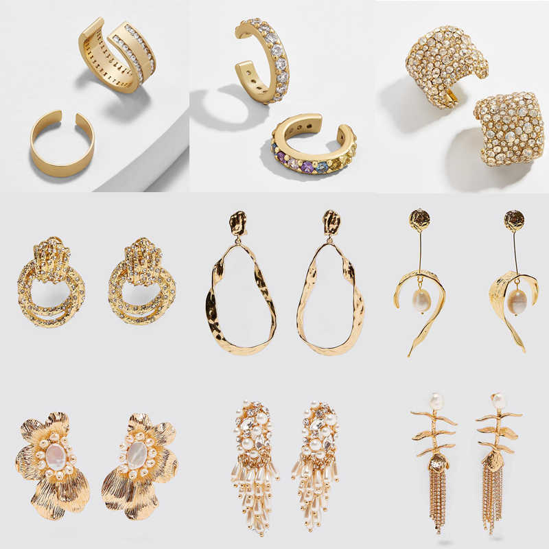 Dvacaman ZA 2019 Punk Geometric Gold Color Metal Drop Earrings for Women Fashion Shiny Crystal Ear Cuff Earrings Jewelry Party