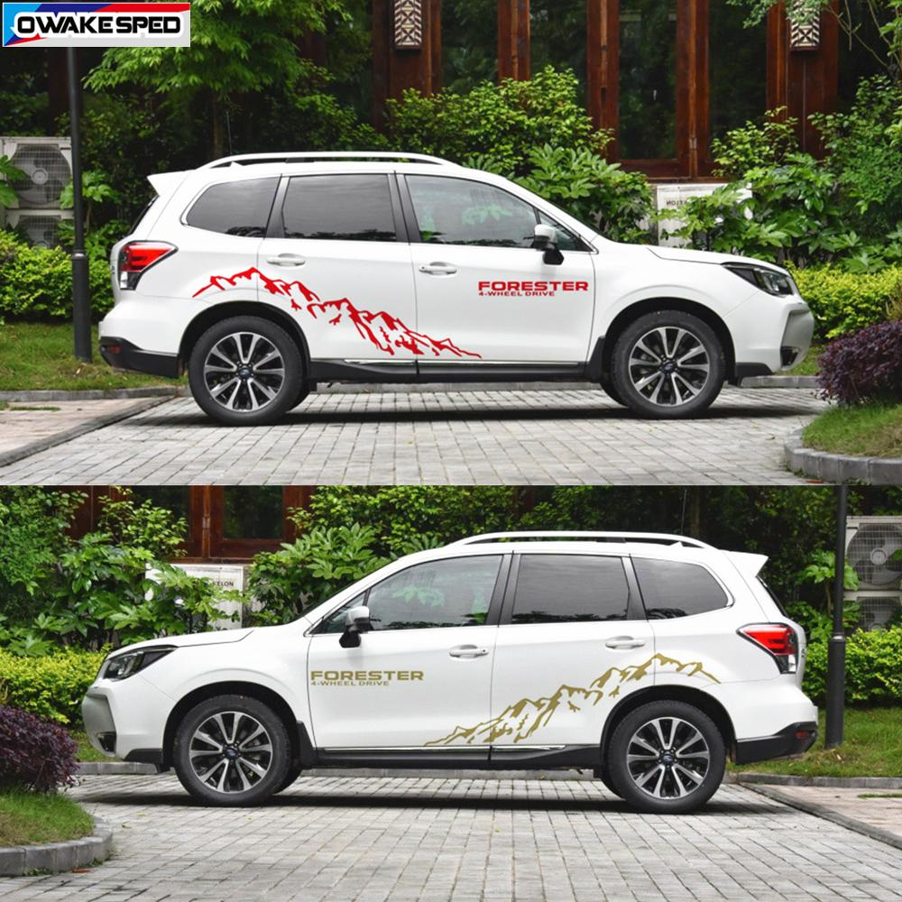 Mountain Sport Vinyl Decal Car Styling Door Side Decor Sticker For Subaru Forester 4-Wheel Drive Auto Body Customized Stickers