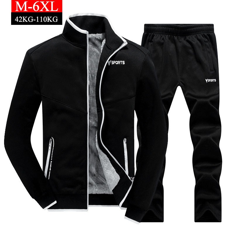Men's Thicken Tracksuit Sets Winter Fleece Warm Sweatshirts+Pants Track Suit Men Sportwear Letter Printing Plus Size 6XL Clothes