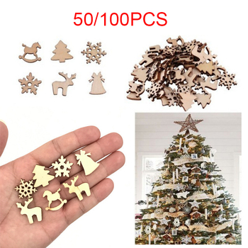 50/100PCS Christmas Decorations Snowflake Elk Xmas Tree Natural Wooden DIY Crafts Hanging Ornaments for Home Xmas New Year 2021 image