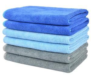 SINLAND многофункциональная микрофибра, тряпка для очистки, протирание, впитывающая ворс, Бесплатная пыль, тряпки для объектива для дома и кухни, бесплатная доставка, 12 дюймов x 12 дюймов, синий, 6 шт. в упаковке