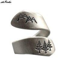 Simples anel das senhoras árvore verde floresta montanha escovado anel de casamento senhoras festa jóias criativo dedo abertura anel