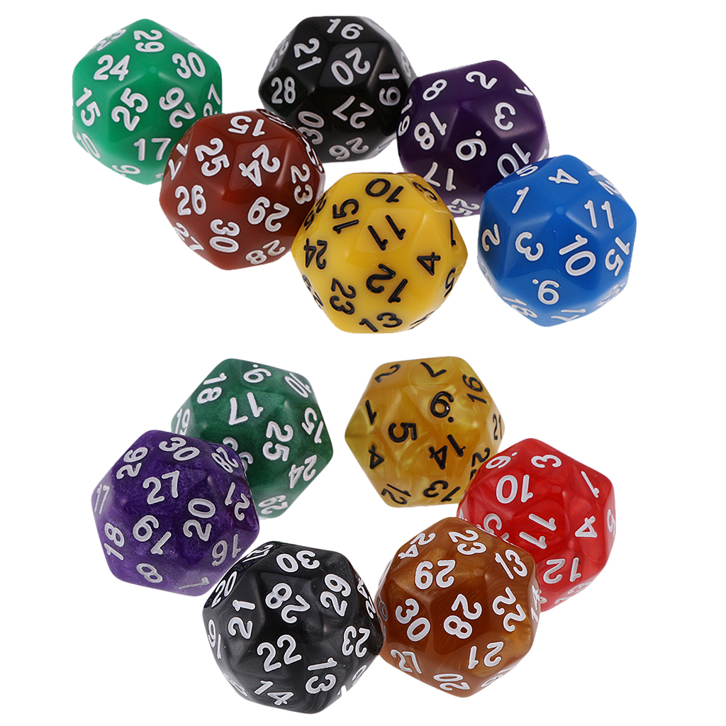 MagiDeal 6pcs 24 /30 Sided Dice D24 D30 Dices For D&D TRPG Family Party Board Game Toys