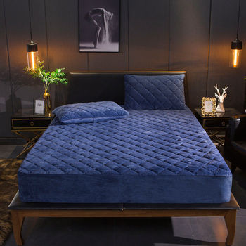 Crystal Velvet Thicken Quilted Mattress Cover Warm Soft Plush Queen King Quilted Bed Fitted Sheet Not Including Pillowcase