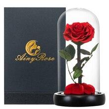 2020 את יופי והחיה טרי פרחים אדום נצחי ורדים עם אור ב זכוכית כיפת עבור ולנטיין חג המולד מתנה dropshiping