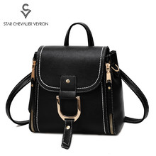 2020 Double Zipper Design Women Backpacks Fashion Ladies Shoulder Bag Travel Bag Student Book Bags Dual-use Leather Backpack sac clear design double zipper front backpack