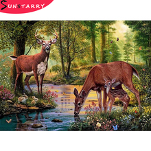 Full Square/Round 5D DIY Diamond mosaic diamond embroidery Deer in the forest drinking water embroidered Cross Stitch Home Decor
