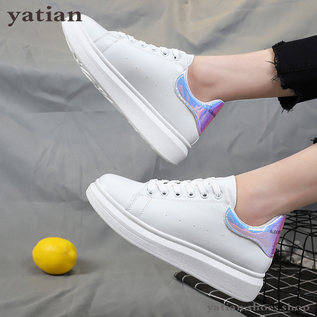New Designer Shoes Woman Wedges Platform Sneakers Lace Up Breathable Casual Chunky  Ladies White  C0 91