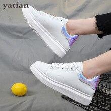 Zapatos de plataforma con cuña para mujer, zapatillas informales transpirables con cordones, color blanco, C0 91