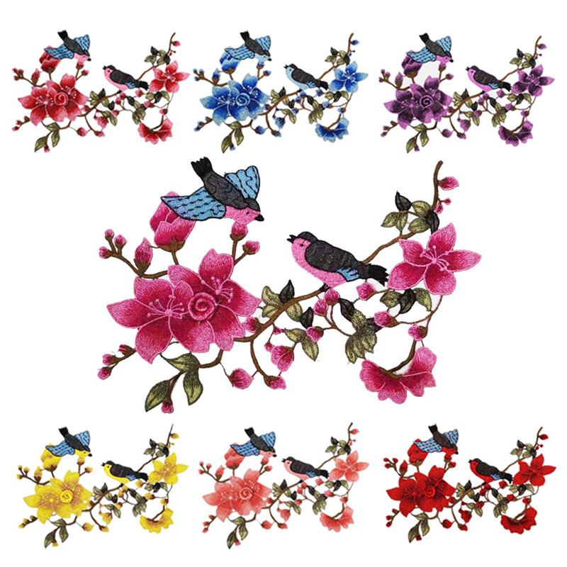 Chinese Style Embroidery Patches Plum Blossom Phoenix Cloth Paste Water-soluble Patches Cute Bird DIY Handmade Dress Patches